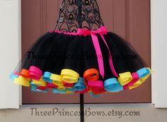 Black+Rainbow+Satin+Ribbon+Trim+Tutu+Pink+by+ThreePrincessBows,+$48.00
