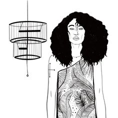 #black #drawing #line #illustration #woman #hair #digitalart #feel #eyes #art #blackandwhite #birdcage #palmleaf