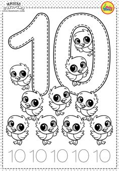 Number 10 - Preschool Printables - Free Worksheets and Coloring Pages for Kids (Learning numbers, counting 1-10) - Broj 10 - Bojanke za djecu - brojevi, radni listovi BonTon TV #numbers #preschool #brojevi #coloringpages #worksheets #printables