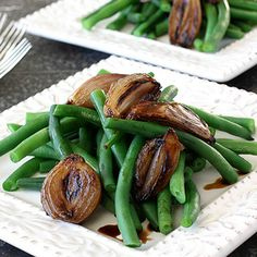 Green Beans with Balsamic Roasted Shallots Recipe | Cookin Canuck
