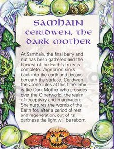 Samain: Samhain ~ Ceridwen, the Dark Mother. Magick, Witchcraft, Wiccan Spells, Samhain Halloween, Pagan Witch, Witches, All Souls Day, Mabon, Sabbats