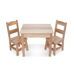 Pull one of the two durable chairs up to the child-size table--they're sized just right for kids, but strong enough to hold moms and dads too! This hardwood table-and-chairs set has a timeless natural Wooden Table And Chairs, Kids Table And Chairs, Play Table, Kid Table, Table And Chair Sets, Toddler Table, Wooden Desk, Toddler Fun, Hardwood Table