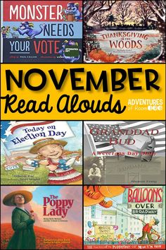 Need some unique and engaging read alouds for November?  I've gathered six new and unique titles that your classroom will love!  Different titles for Thanksgiving, Veteran's Day, and even Election Day are included!  The blog post includes a quick description of each book and why it's perfect for your classroom.  Come and check out these amazing November read alouds today!