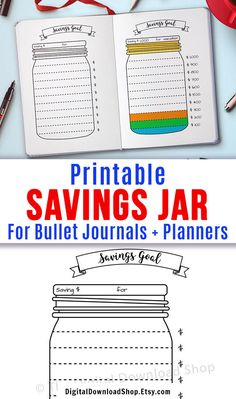 Handy bullet journal savings tracker printable in the shape of a Mason jar. Use … Handy bullet journal savings tracker printable in the shape of a Mason jar. Use this bujo printable to help keep track of your savings goals and stay motivated! Bullet Journal Ideas Pages, Bullet Journal Inspiration, Bullet Journal School, Bullet Journals, Savings Chart, Savings Plan, Savings Challenge, Vacation Savings, Bullet Journal Savings Tracker