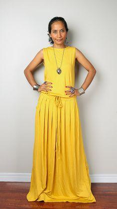 fbe20e163dc Yellow Sleeveless Full Maxi Dress with pockets. Summer Floor length  maternity or holiday party dress (AUT9S)
