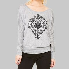 Womens Long Sleeve Shirt  Yoga Flower graphic by MadMoonClothing