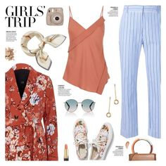 """Girls' Trip: Wine Tasting"" by sproetje ❤ liked on Polyvore featuring River Island, Theory, Avène, Gucci, Victoria Beckham, Marni, Revlon, Bobbi Brown Cosmetics, Fujifilm and floralprint"