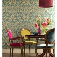 Decor Eclectic Decor Bohemian Decor And Ideas Dining Room Glamour Wallpaper, Damask Wallpaper, Green Wallpaper, Textured Wallpaper, Print Wallpaper, Designer Wallpaper, Dining Room Design, Dining Room Furniture, Dining Chairs