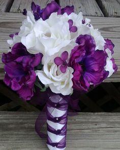 Purple and White Bridal Bouquet / Purple Wedding by SilkFlowersByJean