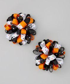 Look at this #zulilyfind! Orange & White Halloween Puff Hair Clip Set #zulilyfinds