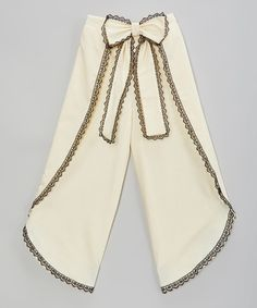 Ivory & Black Bow Palazzo Pants - Infant, Toddler & Girls by Little Miss Fashion #zulily #zulilyfinds
