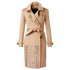 Burberry Embellished Cashmere Trench Coat (€6.805) ❤ liked on Polyvore featuring outerwear, coats, jackets, coats & jackets, casacos, burberry, beige coat, cashmere trench coat, burberry coat and oversized trench coat