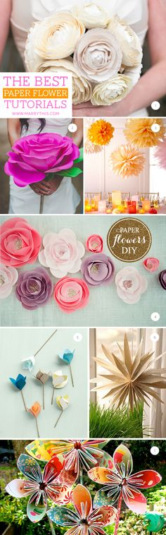 More paper flowers for your bouquet! DIY Paper Flowers Roundup- lots of different kinds Paper Flower Tutorial, Paper Flowers Diy, Handmade Flowers, Flower Crafts, Diy Paper, Fabric Flowers, Paper Crafting, Craft Flowers, Flower Diy