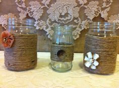 Rustic Mason Jars for Wedding and Cottage Decor : Rustic Farm House and Shabby chic/Vintage style decorations Burlap and Lace Jars. Available at RusticChicBodyShop via Etsy.