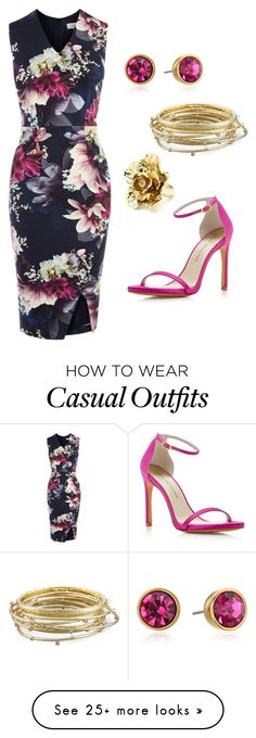 """Navy flower dress - Casual"" by brittjade on Polyvore featuring Coast, Kate Spade, Kendra Scott, Oscar de la Renta and Stuart Weitzman"