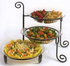 I would like one of these for better presentation at parties. Party Platters, Party Buffet, Dining Decor, Kitchen Dining, Tiered Serving Platters, Platter Board, Dish Storage, Wrought Iron Decor, Buffet Server