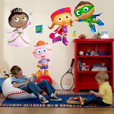 """Super Why! Giant Wall Decals by Party Destination. $40.00. Decals are made of heavy-duty vinyl and are for use on smooth, flat surfaces. Includes 4 large Super Why! characters (largest measures 18.5"""" wide x 27"""" high), 1 """"Super Why!"""" logo, and 1 light switch decoration. Includes 3"""" yellow Squeegee as well as full use and care instructions."""