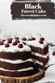 This Black Forest Cake is perfectly moist and so rich with the added flavor of dark cherries and layered between a cherry-flavored whipped topping. It will definitely satisfy every one of your sugar cravings! #blackforestcake #chocolatecake #cherries | See this and other delicious recipes at TheSeasideBaker.com Homemade Cake Recipes, Best Dessert Recipes, Sweets Recipes, Amazing Recipes, Delicious Recipes, Decadent Chocolate Cake, Chocolate Sweets, Homemade Chocolate, Chocolate Flavors