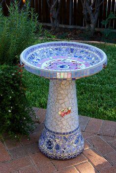 mosaic birdbath - using china, stained glass, beads and tile