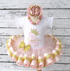 4-pc Set. Tutu,Shirt, Bow, Necklace. Pink and Gold Princess Crown Satin Ribbon Trim Tiered Tutu Birthday Outfit with Accessories. Damask. by ThePinkDaisyBoutique on Etsy https://www.etsy.com/listing/216892727/4-pc-set-tutushirt-bow-necklace-pink-and