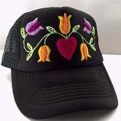 Petunia Embroidered Hat Embroidered Hats, Petunias, Caps Hats, Hand Stitching, Hand Embroidery, Amanda, Art Projects, Baseball Hats, Mexico