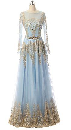 01742f1663ada Amazon.com  Okaybridal Women s Boat Neck Gold Lace Beaded Long Sleeve Prom  Dresses  Clothing. Glitter Prom Dresses
