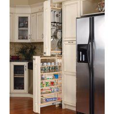 Tall Filler Pullout Organizers - 45 inch height on the left, 39 inch height on the right.