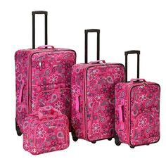 Looking for Rockland Luggage Brown Leaf 4 Piece Luggage Set, Pink Bandana, One Size ? Check out our picks for the Rockland Luggage Brown Leaf 4 Piece Luggage Set, Pink Bandana, One Size from the popular stores - all in one. Travel Tote, Travel Luggage, Luggage Store, Rockland Luggage, Skate Wheels, Luggage Sets, Pink Luggage, Black Dots, Baggage