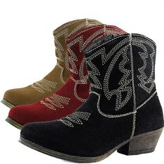 Womens Casual Boots Western Cowboy Ankle KittenThick Heel Stitching Detail Shoes27.00 includes ship. ebay seller under ankle boots.