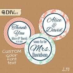 "PRINTABLE 2"" Wedding Favor Tags, Bridal Shower Tags, Thank You Tags, Party Tags, Party Picks, Cupcake toppers - navy mint coral - 290 on Etsy, $10.00"