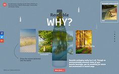 Mehrweg.info is a campaign page made for the Federal Ministry for the Environment, Nature Conservation, Building and Nuclear Safety about the advantages of reusable glass bottles.