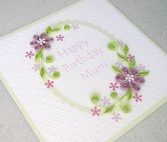 Quilled birthday card for mum, grandma, sister - or anyone you would like! A beautiful quilled birthday card with quilling flowers and leaves in lilac and light green. An original handmade greetings card to send to someone you really care about. Quilling Birthday Cards, Happy 50th Birthday, Birthday Cards For Mum, Quilling Cards, Handmade Birthday Cards, Paper Quilling, Birthday Greeting Cards, Greeting Cards Handmade, Arte Quilling