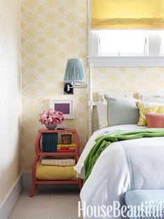 A retro bedroom. Design: Mona Ross Berman. housebeautiful.com. #retro #color #yellow #bedroom