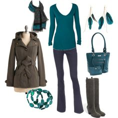 Touch of teal with gray-  love!  #style #fashion