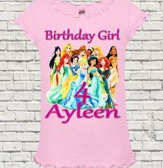 Disney Princess Birthday Shirt - Disney Princess Shirt. Kids Fashion, Custom Cute Clothes #bellafashionkidz @BellaFashionKidz