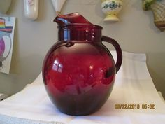 Vintage Royal Ruby Red Roly Poly Pitcher, Ice Tea Pitcher, Kitchen Decor, Home Decor, Water Pitcher by RoseBarb on Etsy