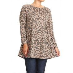 e7121d39fdb MOA Collection Women s Plus Size Leopard Pattern Tunic (1X)