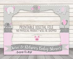 PLEASE READ BEFORE YOU PURCHASE: NO PHYSICAL PRODUCT WILL BE SHIPPED! This listing is for a PRINTABLE 1-sided digital design file. Photo Frame Prop with cutout for photographs at your baby shower, birthday, or any elephant-themed event! Choose from: Blue, Pink or Yellow color scheme! WHAT