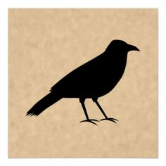 Black Crow | Black Crow Bird on a Parchment Pattern. Print from Zazzle.com
