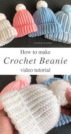 Easy Crochet Baby Hat, Crochet Baby Hats Free Pattern, Bonnet Crochet, Crochet Baby Beanie, Baby Hats Knitting, Crochet Baby Clothes, Newborn Crochet Patterns, Crochet Hats For Babies, Crochet Baby Stuff