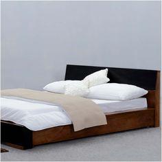 Modern Simplicity Mango Wood Floor Frame Platform Bed w Headboard