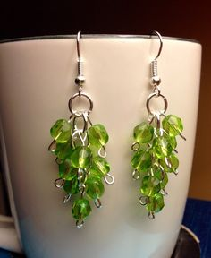 Green Grapevine Beaded Earrings by JamesBrownCreations on Etsy