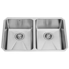 VIGO 29.25-in x 18.5-in Double-Basin Stainless Steel Undermount Commercial/Residential Kitchen Sink