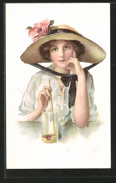 Ladies / Woman with hat | Ladies / Woman / Fashion | old Postcards