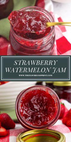 Melon Recipes, Strawberry Recipes, Fruit Recipes, Strawberry Summer, Strawberry Jelly Recipe Canning, Strawberry Jam, Delicious Recipes, Watermelon Jelly, Summer Jam