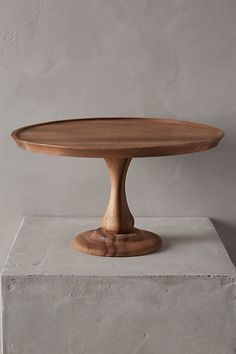 Handcarved Acacia Cake Stand - anthropologie.com