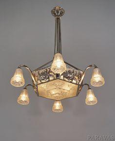 OLLIER & Hanots:  large 1930 French art deco chandelier. paravas-ebay