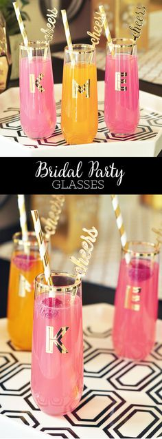 Bachelorette Party Glasses are unique bachelorette party favors for your bridesmaids and maid of honor! Sparkly Gold Cocktail Glasses with Monogram Initials and rimmed in gold by ModParty