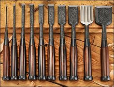 Buy Tasai Damascus Pattern Blue Steel Multi-Hollow Back Chisel Set with Ebony Handles in Signed Box at JapanWoodworker.com