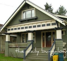 Exterior paint color. Olive green, ivory, grey-blue